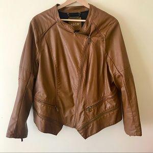 MBLM Moto Faux Leather Plus Size Jacket Brown / 1X